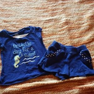 Gymboree 18 24 mth seahorse shirt shorts outfit